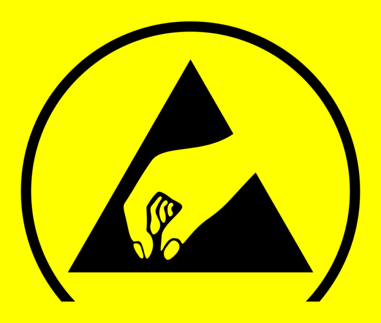 Symbole de la zone ESD, zone antistatique, protection des collaborateurs, zone EPI, protection des collaborateurs contre les décharges électrostatiques