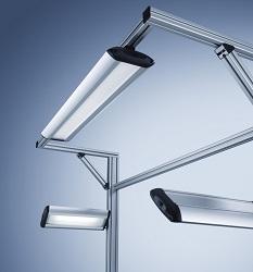 Rampe d'éclairage pour poste de travail Tameto Waldmann équipé de tubes fluorescent luminosité réglable