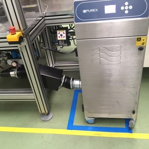 extracteur d'air purex 800i avec spark arrestor filtre principal HEPA14 et préfiltre accordéon