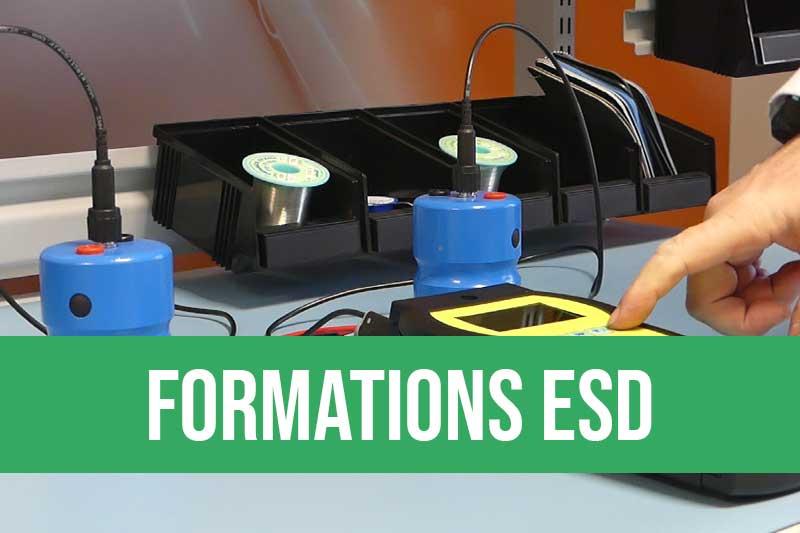 Formation maîtrise des décharges électrostatiques plusieurs niveaux formation à distance possible sessions en inter-entreprises. Sensibilisation, technicien, opérateur et coordinateur ESD, 5 niveaux pour se former aux règles antistatiques