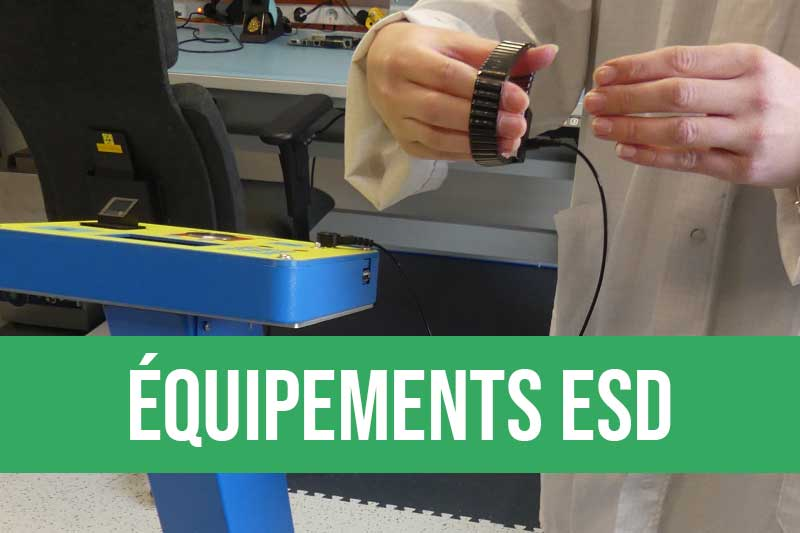 Produits antistatiques pour électronique : sols ESD avec dalles, peinture ESD, équipement personne avec blouse, gants, chaussures, bracelet ESD, équipement du poste avec tapis ESD, ioniseur, lampe ESD, test du marcheur, produits Iteco et Eurostat