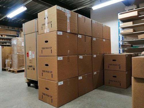 Entrepôt de stockage de filtres HEPA14 et préfiltres Purex à Cepelec Grenoble