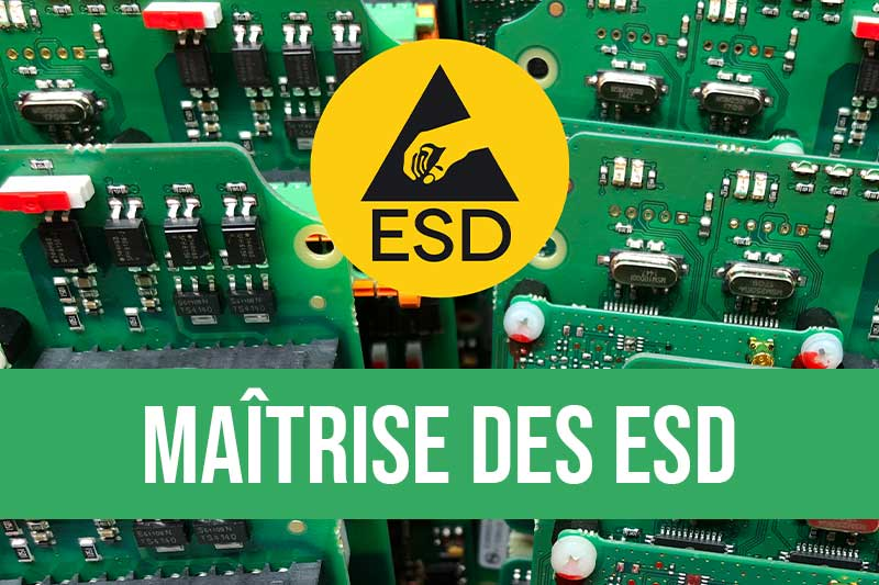 Maîtrise des décharges électrostatiques en électronique : audit et diagnostic ESD, formations de sensibilisation ESD à coordinateur ESD et équipements antistatiques pour poste de travail, produits ESD, station de test, champmètre, chaussures ESD et gants ESD
