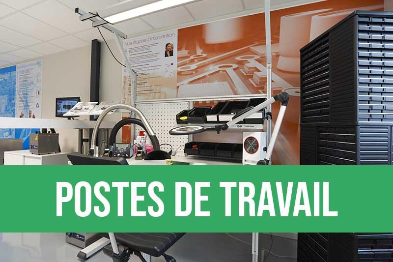 Postes de travail ergonomiques pour les ateliers de production avec accompagnement ergonomique, éclairage et accessoires