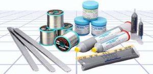 Gamme des produits Almit avec le fil à braser, la crème à braser, les barres et seringues d'alliages