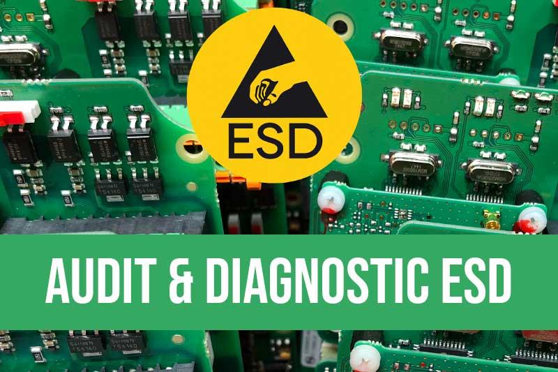 Audit décharges électrostatiques et diagnostic ESD en électronique. Prise de mesures ESD sur site, évaluation des équipements antistatiques et rapport d'audit détaillé avec remise d'un rapports, préconisations