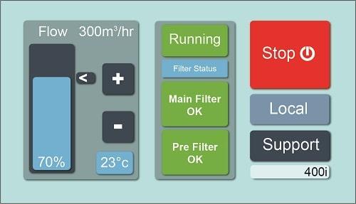 Affichage tactile de la machine d'extraction Purex Ifume 400i permet de régler le débit d'air et voir l'état des filtres