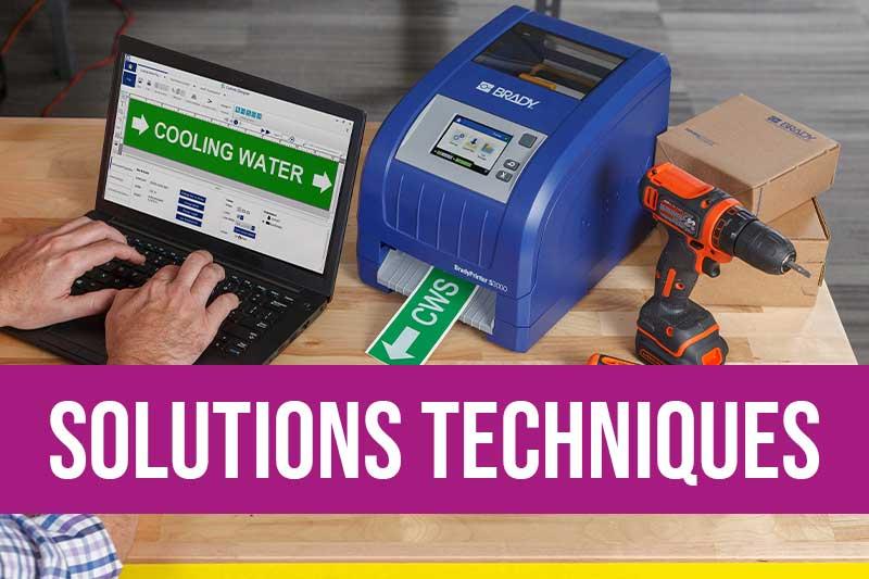 Equipements pour la sécurité avec matériel de consignation et imprimantes avec consommables pour imprimer pictogrammes de sécurité, marqueurs de tuyauterie, CLP et autres