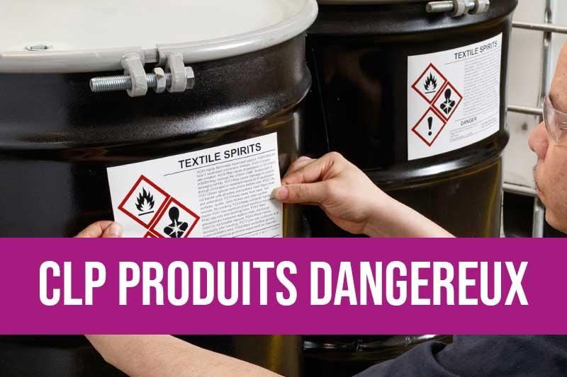 Etiquetage de produits dangereux conforme CLP packaging règlement (CE) n° 1272/2008, étiquette pour produit chimique, inflammable, étiquetage des produits chimiques SGH, FDS, étiquette danger, Classification, Labelling, Packaging