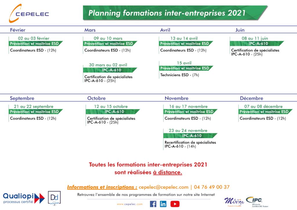 Planning 2021 des formations inter-entreprises à distance avec des certifications et recetification ipc a 610 et des formations coordinateurs ESD